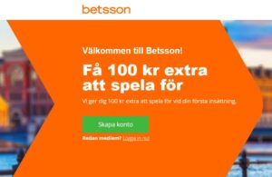 Betsson - 100kr i Bonus